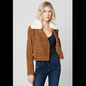 NWT Blank NYC Brown Genuine Suede Moto Jacket
